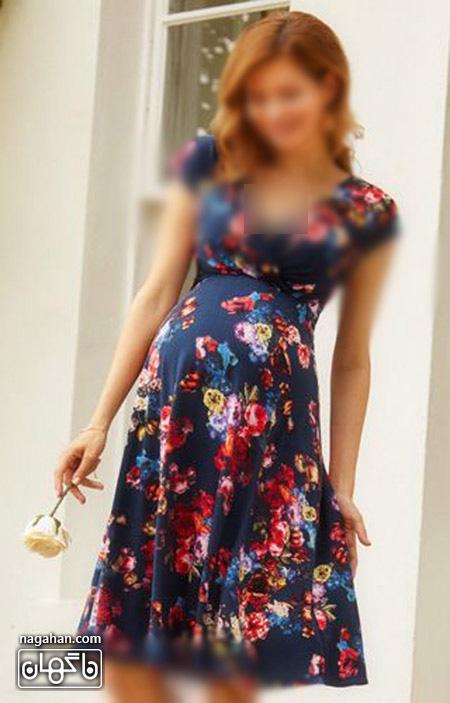 عکس لباس بارداری سورمه ای گلدار