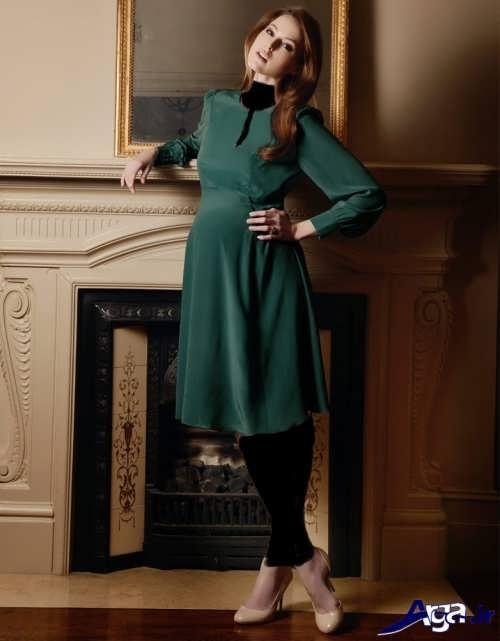 مدل پیراهن کوتاه و سبز حریر